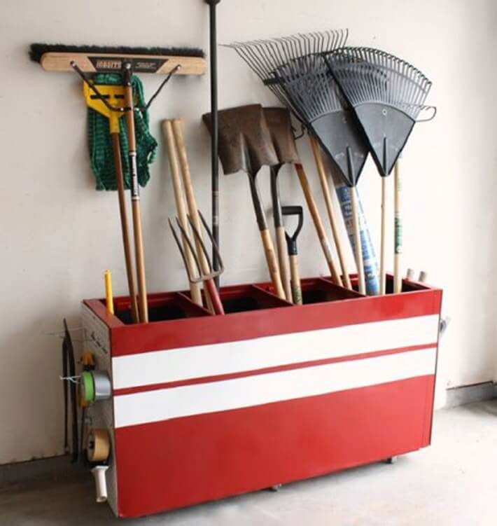 Turn an old file cabinet into garden-tool storage