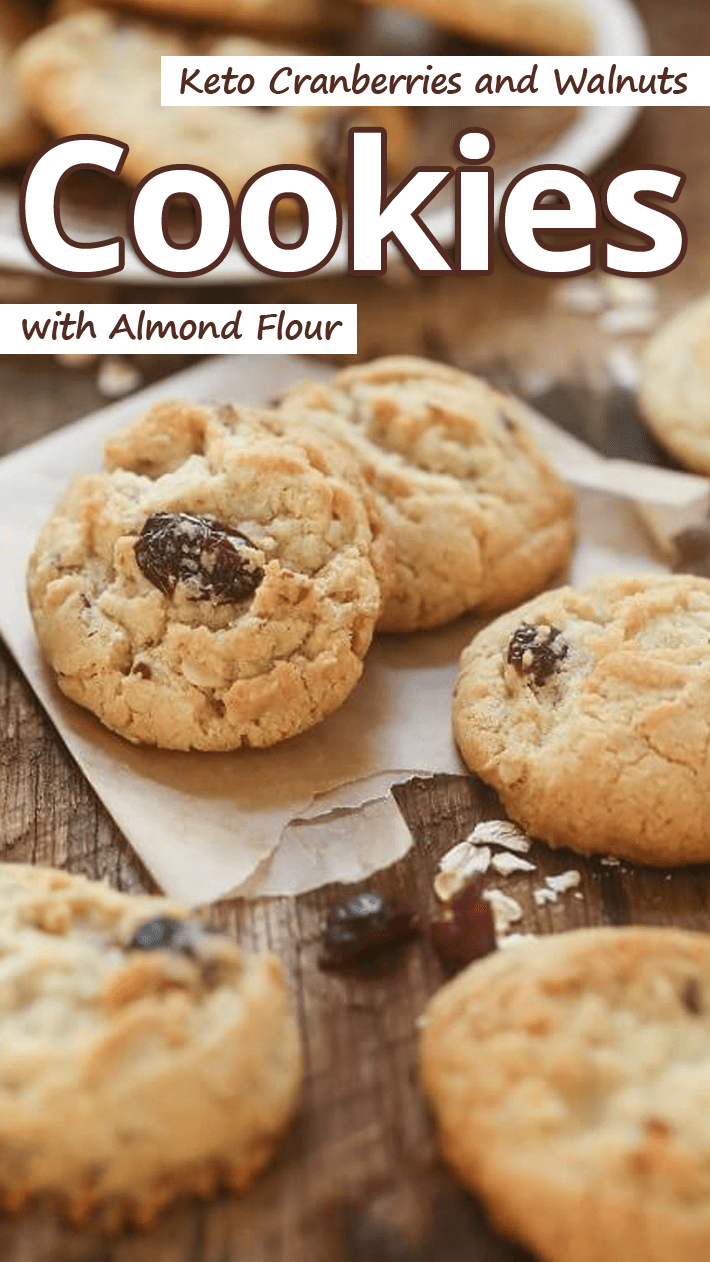 Keto Cranberries and Walnuts Cookies with Almond Flour
